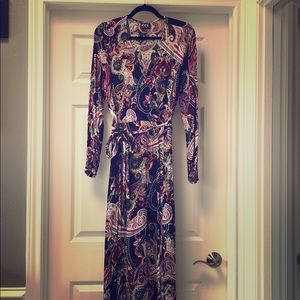 ECI long sleeve faux wrap paisley maxi dress